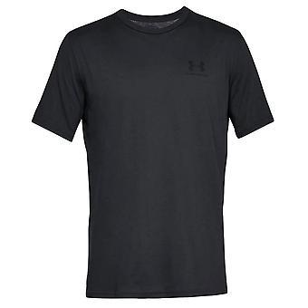 Under Armour Mens Sportstyle Left Chest Logo Cotton T-Shirt Tee Black