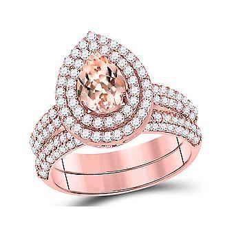 2/3 Carat (ctw) Natural Morganite Drop Engagement Ring and Wedding Band Set in 14K Rose Pink Gold with Diamonds