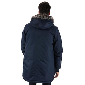Mens Bench Wadded Fur Parka Jacket In Navy- Zip Fastening With Hook And Loop