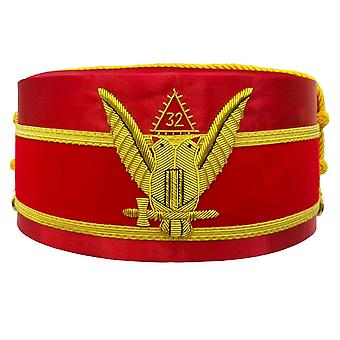 32nd Degree Scottish Rite Wings UP Red Cap Bullion Hand Embroidery