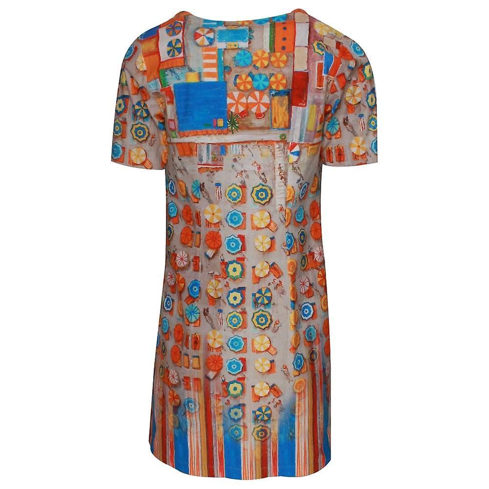 Aventures des toiles impression d'art à manches courtes robe de soleil en coton IZUNYW
