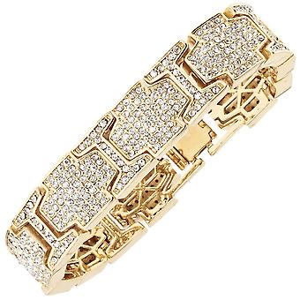 Iced out bling hip hop bracelet wristband - ICE LINK gold