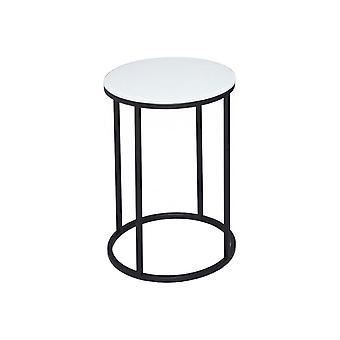 Gillmore White Glass And Black Metal Contemporary Circular Side Table