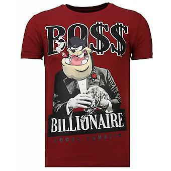 Billionaire Boss-Rhinestone T-shirt-Burgundy
