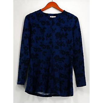 Denim & Co. Top XXS Printed Brushed Heavenly Fit &Flare Blue A297762