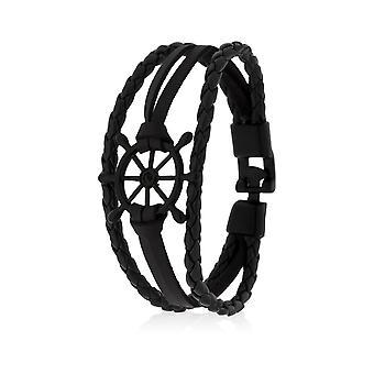 Skipper Bracelet Leather Bracelet Arm Jewelry Ship Rudder in Black 8130