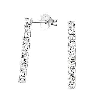 Bar - 925 Sterling Silver Crystal Ear Studs - W29218X