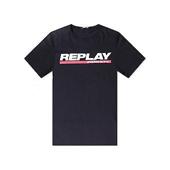 Replay Jeans Replay Brand Logo T Shirt Black