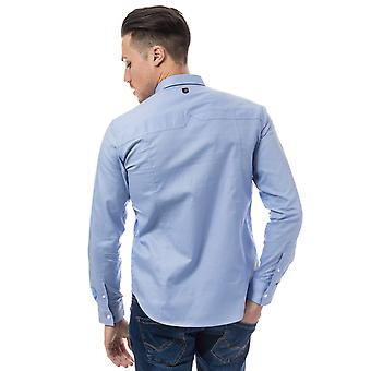 Mens Duck And Cover Birch Cotton Shirt In Blue- Long Sleeve- Button Down Collar-