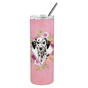 Dalmatiner rosa Blumen Doppel wandbemauert Edelstahl 20 oz Skinny Tumbler