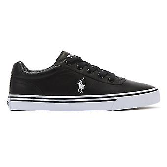Ralph Lauren Hanford Mens Pure Black Leather Trainers