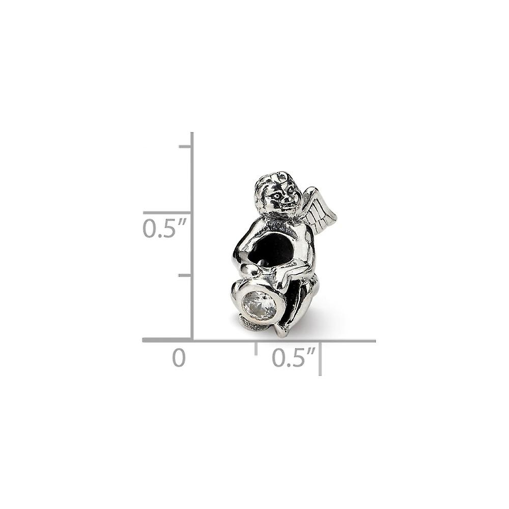 925 Sterling Silver Polished finish Reflections April CZ Cubic Zirconia Simulated Diamond Bead Charm Pendant Necklace Je