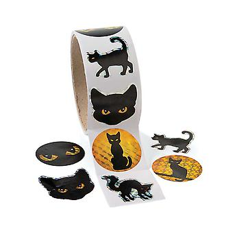 Rolka 100 Black Cat Halloween naklejki dla dzieci rzemiosła | Dzieci Halloween rzemiosła