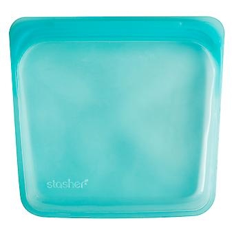 Stasher Plastic-Free Reusable Sandwich Bag, Aqua 19 x 18cm