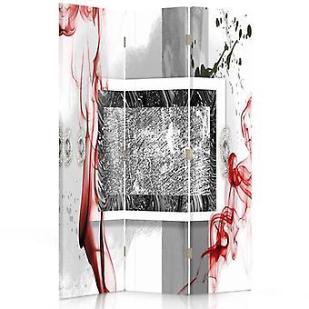 Divisor de habitación, 3 paneles, doble cara, giratorio 360, lienzo, composición abstracta 2