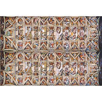 Michelangelo Sistine Şapeli Vatikan Müzesi Koleksiyonu Panorama Yapboz (1000 Adet)