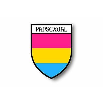 Autocollant Sticker Voiture Moto Blason Drapeau Pansexual Arc En Ciel Rainbow