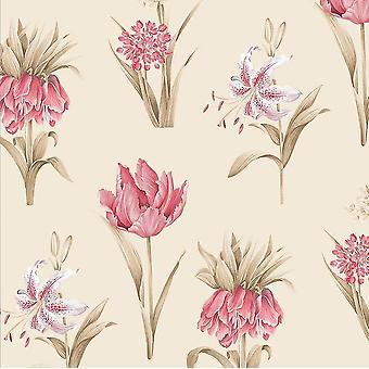 Norwall Beige Pink Floral Leaf Wallpaper Botanical Flowers Pre-Pasted Vinyl