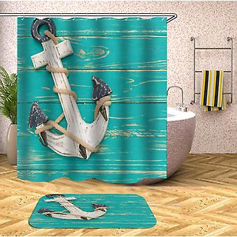 Anchor On Turquoise Deck Shower Curtain
