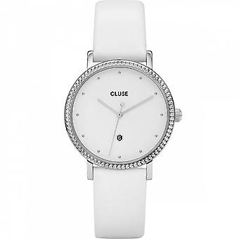Cluse Watches Cl63003 Le Couronnement Silver & White Leather Ladies Watch
