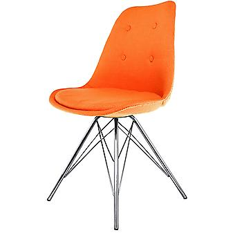 Fusion Living Eiffel Inspired Orange Fabric Dining Chair With Chrome Metal Legs