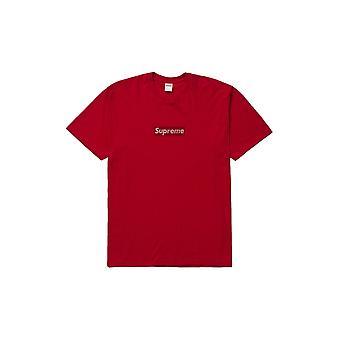 Supreme Swarovski vak logo tee rood-kleding