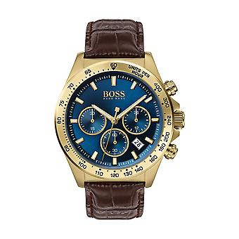 Hugo Boss Uhr 1513756 - Hero Chrono Dor Steel Box blau braun Lederarmband männlich