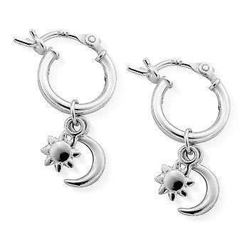 ChloBo SEH582 Women's Dainty Moon & Sun Hoop Earrings