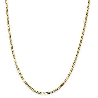 14k 2.3mm Ferde curb lánc boka karkötő ékszer ajándékok a nők - Hossz: 7-10