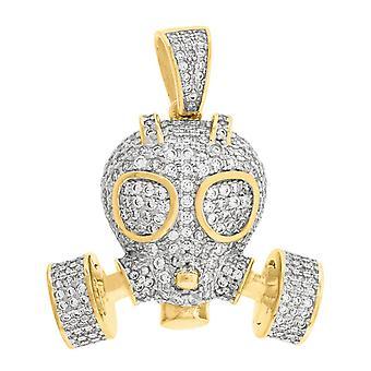 Sárga hang 925 Sterling Ezüst Férfi Kerek CZ Cubic Cirkónia szimulált Gyémánt gáz maszk divat medál nyaklánc Charm J