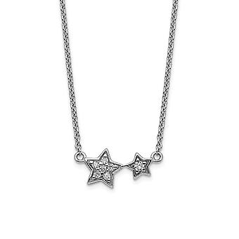925 Sterling Silver Rhodium Plated CZ Cubic Zirconia Simulated Diamond Star Necklace 17.5 Inch Jewely Gifts for Women