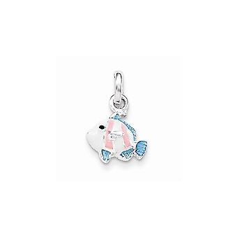 925 Sterling Silver for boys or girls Blue Pink Black Enameled Animal Sealife Fish Pendant Necklace