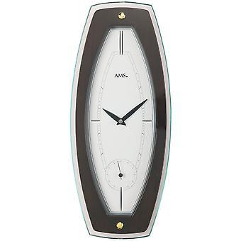 Quartz wall clock quartz Walnut colours lacquered wooden case mineral glass