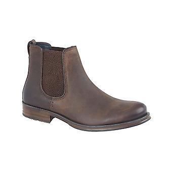 Roamers Brown Oily Leather Twin Gusset Ankle Boot Textile Lining Padded Microfibre Sock Tpr Sole