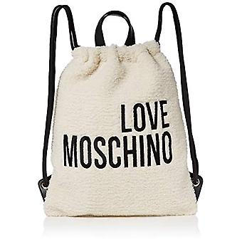 Love Moschino Bag Eco Shearling and Pu Backpack Women (Ivory/Black) 42x34x2 cm (W x H x L)