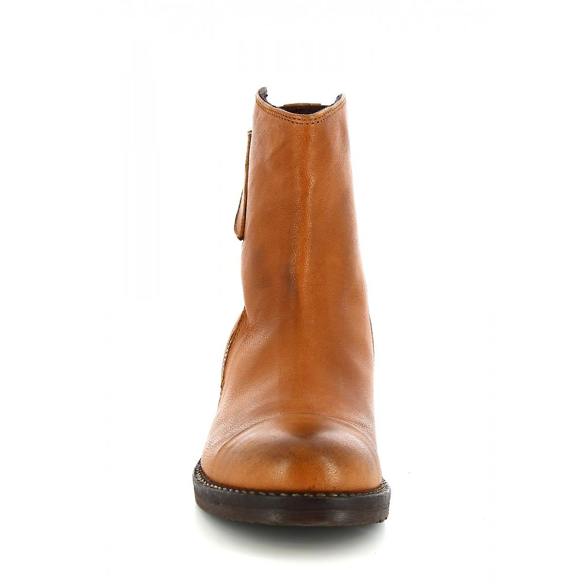 Leonardo Shoes Women's handmade ankle boots tan calf leather with side zip NU4v6