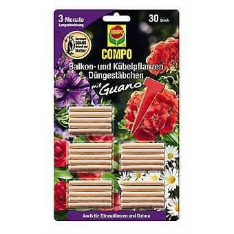 COMPO balcony and potted plants Fertilizer sticks with guano, 30 pieces