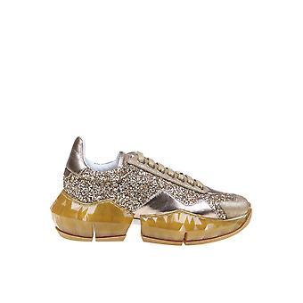 Jimmy Choo Diamondfxbzgold Women's Gold Glitter Sneakers