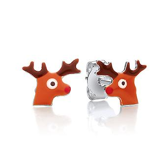 David Deyong Children's Sterling Silver & Enamel Christmas Reindeer Stud Earrings