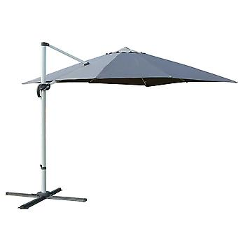 Outsunny 3 x 3m Patio Offset Parasol Umbrella Cantilever Hanging Sun Shade Canopy Shelter 360° Rotation w/ Cross Base Grey