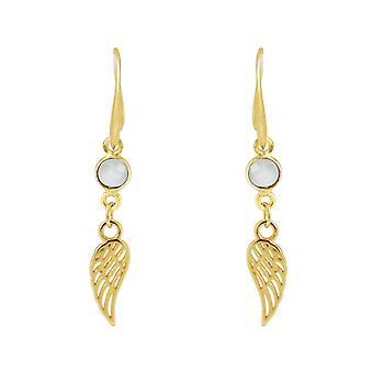 GEMSHINE örhängen vinge WINGS ängel 925 silver, guldpläterad eller ros - chalcedony