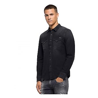 Replay Jeans Replay Hyperflex Denim Shirt Zwart