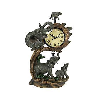 Elephant Family On Safari Hand Painted Table Pendulum Clock