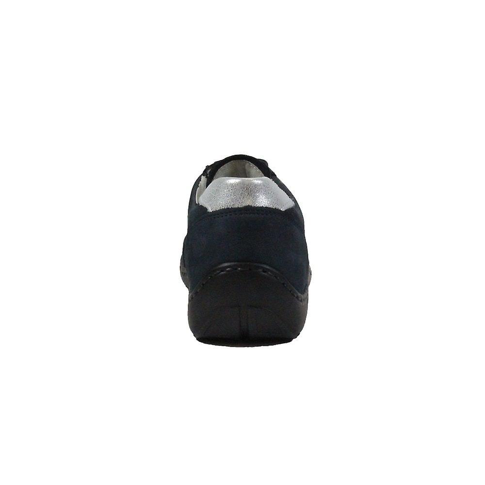 Waldläufer Jasmine Henni 496013 217 808 Navy Nubuck Leather Womens Lace Up Casual Trainer Shoes
