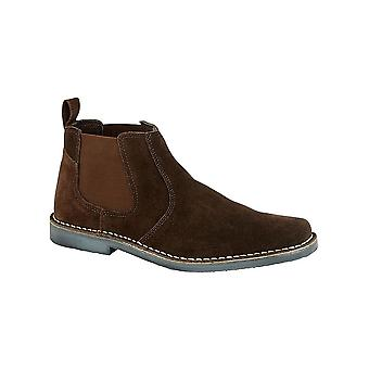 Roamers Dark Brown Real Ruskind Twin Gusset Ankel Boot Tekstil Foring TPR Sole