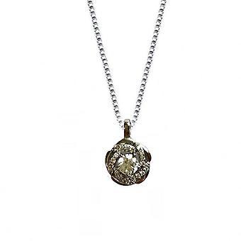 Colier cu pandantiv cu diamante sintetice - trandafir - argint
