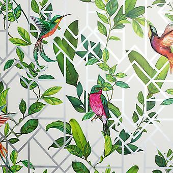 Deco tropické tapety bílá / Multi Arthouse 908004