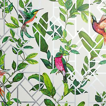 Deco Tropical Wallpaper Wit / Multi Arthouse 908004