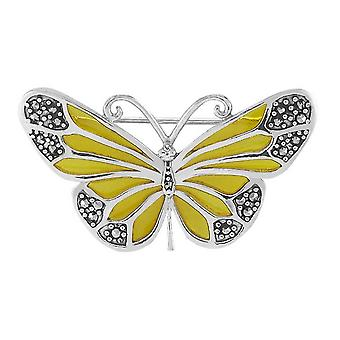 Orton West Butterfly Brooch - Yellow/Silver