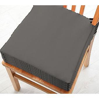 Graue Baumwolle Twill Essstuhl Sitzpad Kissen, Packung mit 4